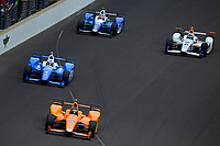 Verizon IndyCar Series<br /> Indianapolis 500 Race<br /> Indianapolis Motor Speedway, Indianapolis, IN USA<br /> Sunday 28 May 2017<br /> Fernando Alonso, McLaren-Honda-Andretti Honda, Scott Dixon, Chip Ganassi Racing Teams Honda, JR Hildebrand, Ed Carpenter Racing Chevrolet and Takuma Sato, Andretti Autosport Honda<br /> World Copyright: F. Peirce Williams<br /> LAT Images