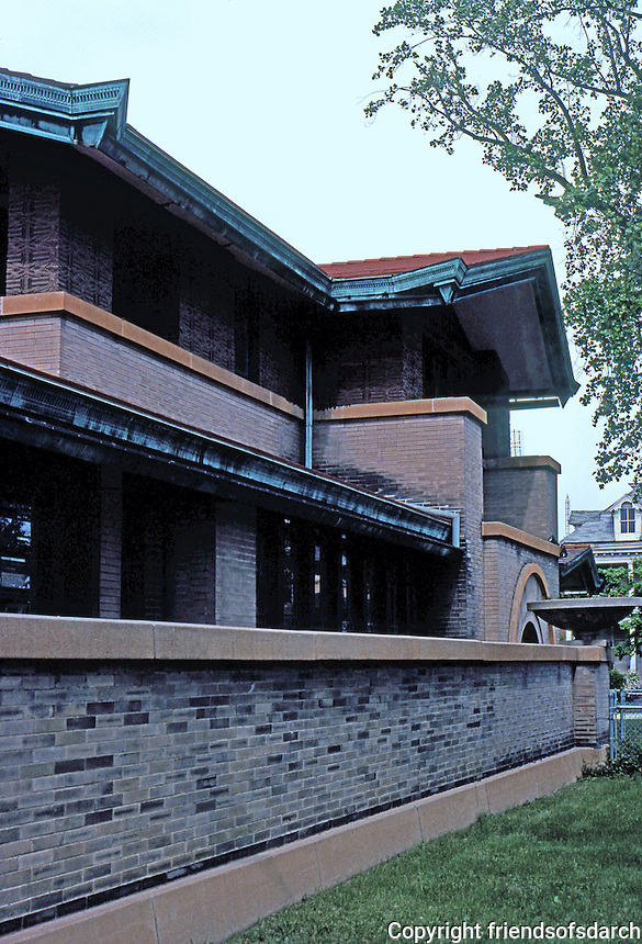 F.L. Wright: Dana House, Springfield, ILL. Looking east on Lawrence.  Photo '78.