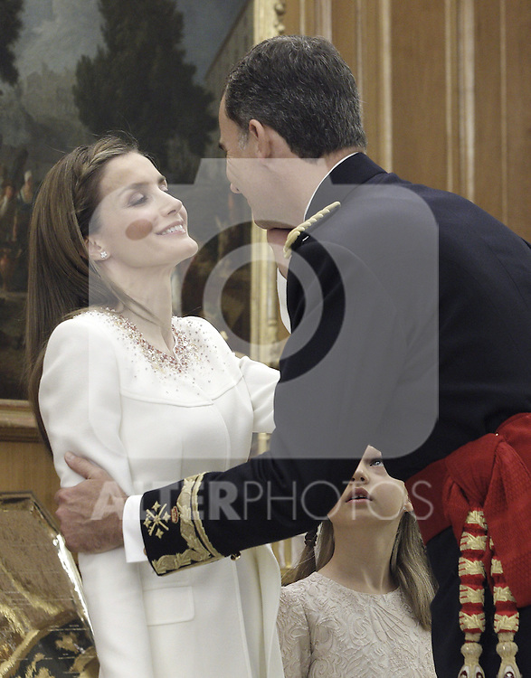 Prince Felipe VI of Spain kissing his wife Princess Letizia of Spain at the official ceremony to become chief commander of the spanish military forces. . June 19 ,2014. (ALTERPHOTOS/EFE/Pool)