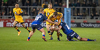 8th November 2019; AJ Bell Stadium, Salford, Lancashire, England; English Premiership Rugby, Sale Sharks versus Coventry Wasps; Will Rolands of Wasps is tackled by Akker van der Merwe and Bryn Evans of Sale Sharks  - Editorial Use