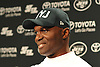 New York Jets Head Coach Todd Bowles cracks a smile as he speaks to the media after team practice at the Atlantic Health Jets Training Jets Training Center in Florham Park, NJ on Wednesday, Dec. 30, 2015.