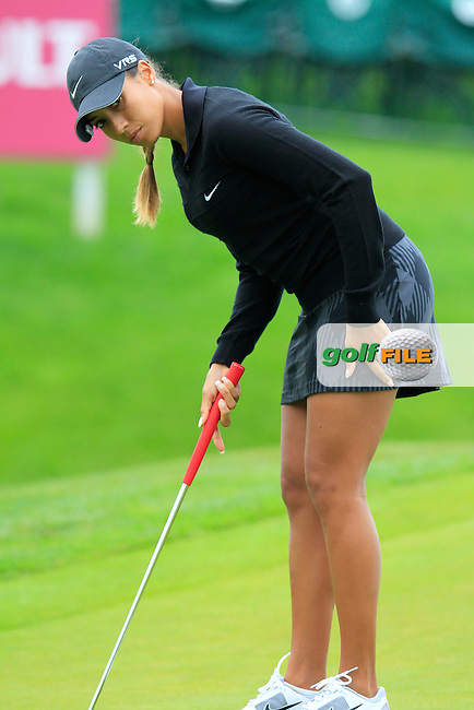 Cheyenne Woods (USA) in action during Wednesday's Pro-Am of The Evian Championship 2014 held at the Evian Resort Golf Club, Evian-les-Bains, France.: Picture Eoin Clarke, www.golffile.ie: 10th September 2014