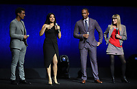 LAS VEGAS, NV - APRIL 23: (L-R) Actors Ismael Cruz Cordova, Gina Rodriguez, Anthony Mackie and Director Catherine Hardwicke  onstage at the Sony Pictures Entertainment presentation at CinemaCon 2018 at The Colosseum at Caesars Palace on April 23, 2018 in Las Vegas, Nevada. (Photo by Frank Micelotta/PictureGroup)