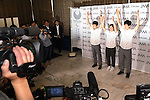 (L-R) Rei Sugimoto, Miho Nonaka, Kokoro Fujii, <br /> AUGUST 3, 2016 - Sports Climbing :<br /> Japan Mountaineering Association holds a press conference<br /> after it was decided that the sport of <br /> Sports Climbing would be added to the Tokyo 2020 Summer Olympic Games<br /> on August 3rd, 2016 in Tokyo, Japan.<br /> (Photo by AFLO SPORT)