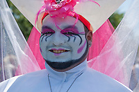 Man's Colorful Face Glitter Makeup Smiling, LA Pride 2010 West Hollywood, CA Parade