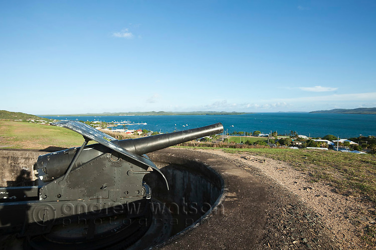 Gun battery at Green Hill Fort.  The fort was built in 1893 to defend against a Russian invasion.  Thursday Island, Torres Strait Islands, Queensland, Australia
