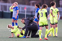 Allston, MA - Sunday, April 24, 2016: Seattle Reign FC midfielder Jessica Fishlock (10). The Boston Breakers play Seattle Reign during a regular season NSWL match at Jordan Field, Harvard University.