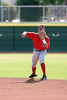 Ryan Mount #4 of the Los Angeles Angels plays in a minor league spring training game against the Chicago Cubs at the Angels minor league complex on April 4, 2011  in Tempe, Arizona. .Photo by:  Bill Mitchell/Four Seam Images.