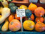 Pumpkin and squash. Market in old quebec city with French signage.