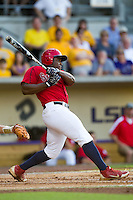 Stony Brook Seawolves third baseman William Carmona #5 delivers a first inning RBI during the NCAA Super Regional baseball game against LSU on June 10, 2012 at Alex Box Stadium in Baton Rouge, Louisiana. Stony Brook defeated LSU 7-2 to advance to the College World Series. (Andrew Woolley/Four Seam Images)