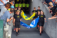 The teams walk out for the ISPS Handa Premiership football final between Auckland City FC and Team Wellington at QBE Stadium in Albany, New Zealand on Sunday, 1 April 2018. Photo: Dave Lintott / lintottphoto.co.nz