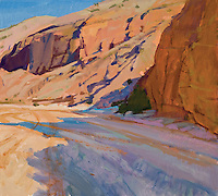 "Rolled Canvas Print: Morning Shadows, Fish Creek Wash 1101102 Image Size  33 1/4 x 30""   on a 39"" x 36"" Canvas. Grey on sides for stretching Acrylic Painting by Marcia Burtt"