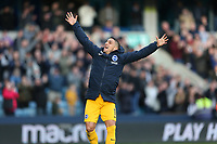 17th March 2019, The Den, London, England; The Emirates FA Cup, quarter final, Millwall versus Brighton and Hove Albion; Anthony Knockaert of Brighton & Hove Albion celebrates towards the Brighton & Hove Albion fans after full time as Brighton and Hove Albion beat Millwall 5-4 in the penalty shoot out to book there place in the Semi Final