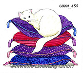 Kate, CUTE ANIMALS, LUSTIGE TIERE, ANIMALITOS DIVERTIDOS, paintings+++++Cat on cushions.,GBKM455,#ac#, EVERYDAY ,cat,cats