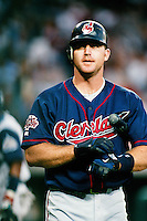 Jim Thome of the Cleveland Indians during a game against the Anaheim Angels at Angel Stadium circa 1999 in Anaheim, California. (Larry Goren/Four Seam Images)