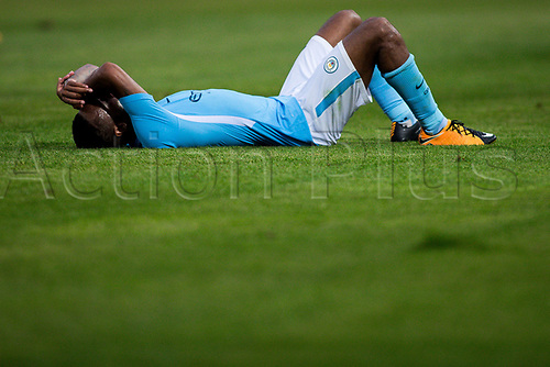 August 15th 2017, Estadi Montilivi, Girona, Spain; Pre Season Football Friendly, Girona versus Manchester City; Raheem Sterling of Manchester City lies on the pitch