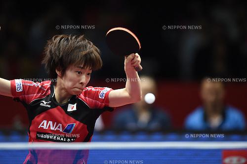 Kasumi Ishikawa (JPN),<br /> MAY 4, 2014 - Table Tennis :<br /> 2014 World Team Table Tennis Championships Women's Semifinal match between Hong Kong 1-3 Japan at Yoyogi 1st Gymnasium in Tokyo, Japan. (Photo by Hitoshi Mochizuki/AFLO)