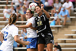 28 August 2009: Duke's KayAnne Gummersall (left) and Central Florida's Christina Petrucco (22) challenge for a header. The Duke University Blue Devils lost 3-2 to the University of Central Florida Knights at Fetzer Field in Chapel Hill, North Carolina in an NCAA Division I Women's college soccer game.