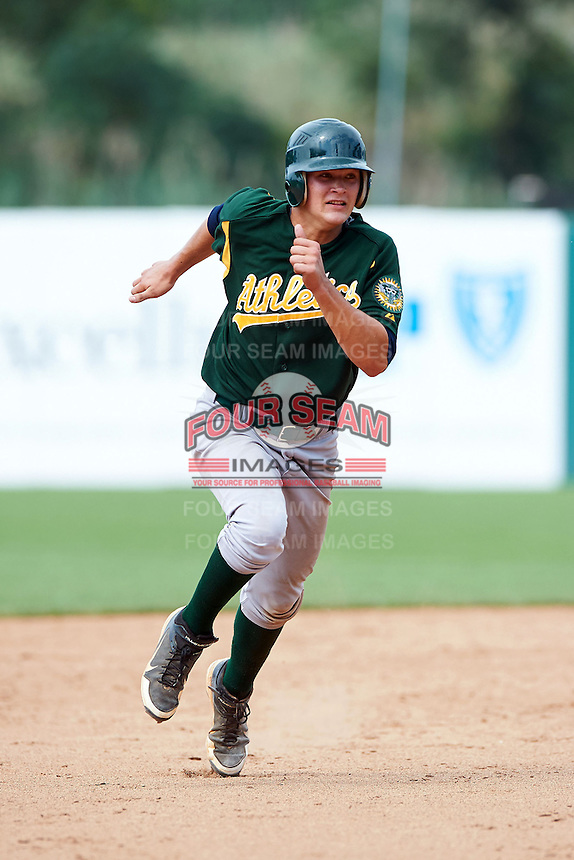 Nicholas Sanzel #9 of Farragut High School in Knoxville, Tennessee playing for the Oakland Athletics scout team during the East Coast Pro Showcase at Alliance Bank Stadium on August 3, 2012 in Syracuse, New York.  (Mike Janes/Four Seam Images)