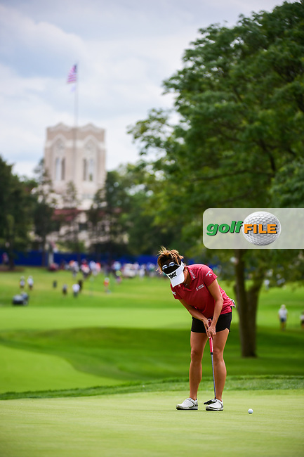 Gerina Piller (USA) watches her putt on 10 during Thursday's round 1 of the 2017 KPMG Women's PGA Championship, at Olympia Fields Country Club, Olympia Fields, Illinois. 6/29/2017.<br /> Picture: Golffile | Ken Murray<br /> <br /> <br /> All photo usage must carry mandatory copyright credit (&copy; Golffile | Ken Murray)
