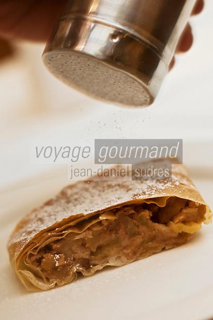 Europe/Autriche/Niederösterreich/Vienne: Au restaurant Weibel's Wirtshaus - L'Apfelstrudel est un gâteau traditionnel autrichien. C'est un gâteau fait d'une pâte feuilletée fine et fourrée de gros morceaux de pommes (Apfel en allemand) acidulées et de raisins secs. Le tout est accompagné de canelle, et servi chaud avec de la crème fraîche voire, moins traditionnellement, d'une boule de glace