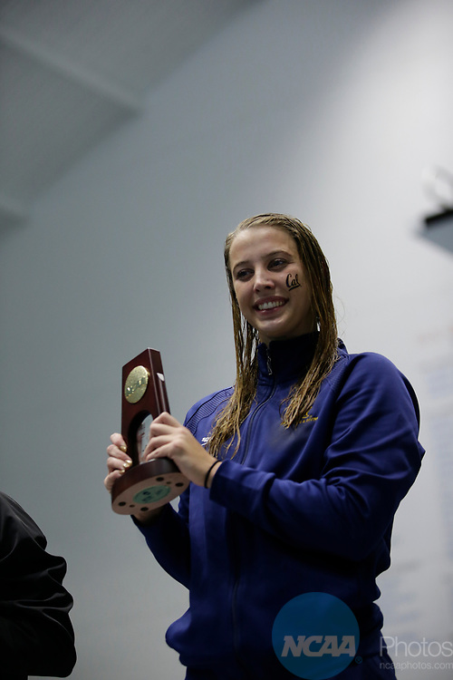 INDIANAPOLIS, IN - MARCH 18: Kathleen Baker swimming for California after the swimming the 200-meter backstroke during the Division I Women's Swimming & Diving Championships held at the Indiana University Natatorium on March 18, 2017 in Indianapolis, Indiana. (Photo by A.J. Mast/NCAA Photos via Getty Images)