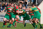 D. Duley Takes on S. Rimes & J. Siddle as he charges upfield. Counties Manukau Premier Club Rugby round 5 game between Waiuku and Drury played at Waiuku on the 12th of May 2007. Waiuku led 33 - 0 at halftime and went on to win 57 - 5.