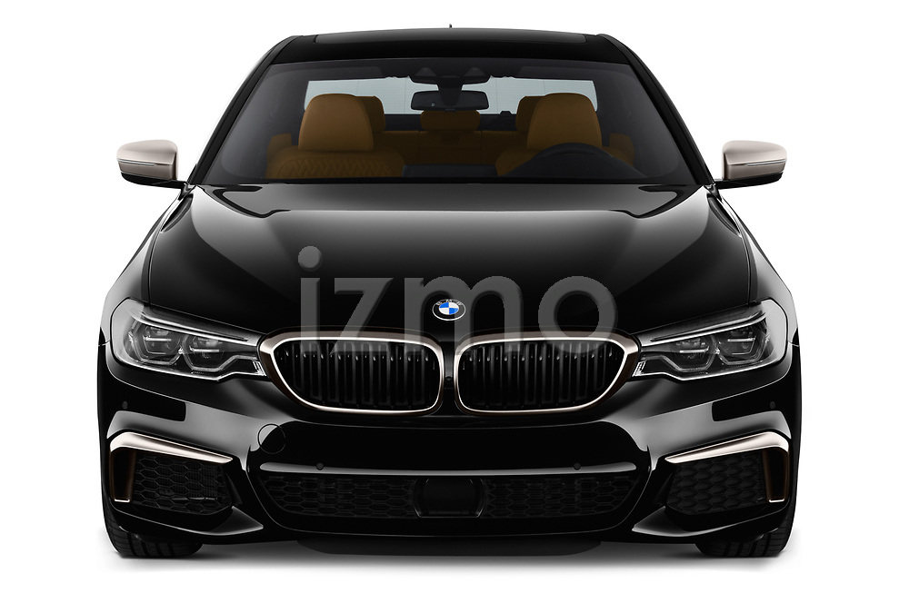 Car photography straight front view of a 2018 BMW 5 Series base 4 Door Sedan