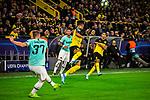 05.11.2019, Signal Iduna Park, Dortmund , GER, Champions League, Gruppenphase, Borussia Dortmund vs Inter Mailand, UEFA REGULATIONS PROHIBIT ANY USE OF PHOTOGRAPHS AS IMAGE SEQUENCES AND/OR QUASI-VIDEO<br /> <br /> im Bild | picture shows:<br /> Milan Skriniar (Inter #37) klaert vor Jadon Sancho (Borussia Dortmund #7), <br /> <br /> Foto © nordphoto / Rauch