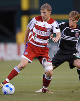2006 MLS Regular Season Match at RFK Stadium, FC Dallas midfielder Ronnie O'Brien fighting for position of the ball against midfielder for DC United Brian Carroll during the game, final score DC United 1, FC Dallas 1, Saturday, April 29.