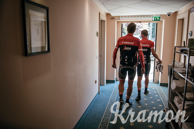 Jasper Stuyven (BEL/Trek-Segafredo) & Mads Pedersen (DEN/Trek-Segafredo) leaving the hotel for a training ride with Team Trek-Segafredo on the 3rd restday<br /> <br /> 100th Giro d'Italia 2017