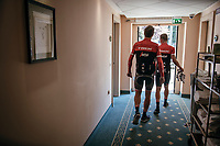 Jasper Stuyven (BEL/Trek-Segafredo) &amp; Mads Pedersen (DEN/Trek-Segafredo) leaving the hotel for a training ride with Team Trek-Segafredo on the 3rd restday<br /> <br /> 100th Giro d'Italia 2017