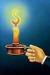Illustrative image of hand holding burning candle representing hope against blue background