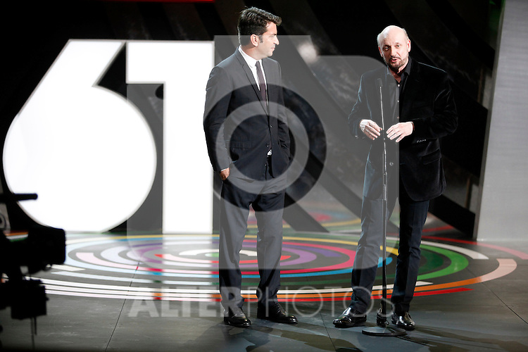 Actor Arturo Vals and direcror Juan Jose Campanella during the 61st San Sebastian International Film Festival's opening ceremony, in San Sebastian, Spain. September 20, 2013. (ALTERPHOTOS/Victor Blanco)