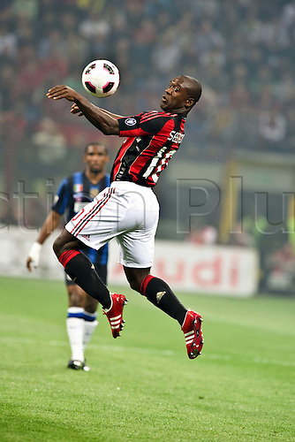 02.04.2011 Alexandre Pato scores two and Antonio Cassano converts a penalty against Inter in what could potentially be a title deciding result. Picture shows Clarence Seedorf.