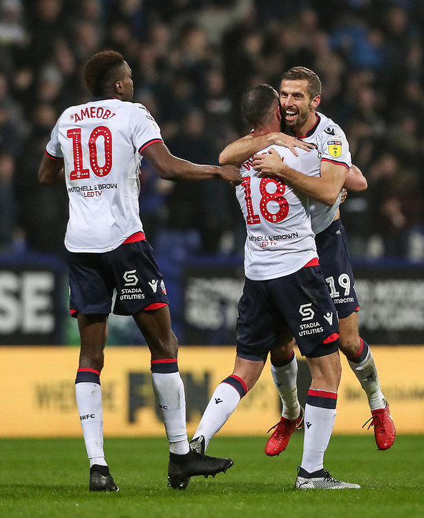 Bolton Wanderers' Gary O'Neil celebrates scoring his side's second goal with his team mates Sammy Ameobi and Marc Wilson <br /> <br /> Photographer Andrew Kearns/CameraSport<br /> <br /> The EFL Sky Bet Championship - Bolton Wanderers v Rotherham United - Wednesday 26th December 2018 - University of Bolton Stadium - Bolton<br /> <br /> World Copyright © 2018 CameraSport. All rights reserved. 43 Linden Ave. Countesthorpe. Leicester. England. LE8 5PG - Tel: +44 (0) 116 277 4147 - admin@camerasport.com - www.camerasport.com