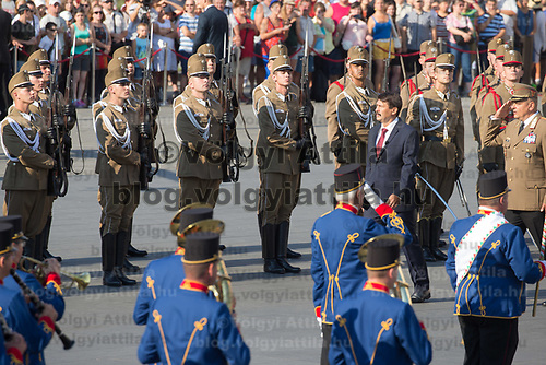 Janos Ader (3rd R) president of Hungary inspects the Guard of honour during a ceremony in front of the Parliament on Hungary's national holiday celebrating the foundation of the State in Budapest, Hungary  on Aug. 20, 2018. ATTILA VOLGYI