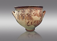 'House of Warriors Vase' : Pictoral Mycenaean Krater depicting Mycenaean soldiers in full armour, Mycenae Acropolis, 12th Cent BC.  National Archaeological Museum Athens. Cat no 1426.  Grey Background<br /> <br /> This large pictoral Mycenaean Krater depicts Mycenaean soldiers full armed with helmet, cuirass, greaves, shield and spaer as they depart for war. This is a superb example of Mycenaean pictoral pottery