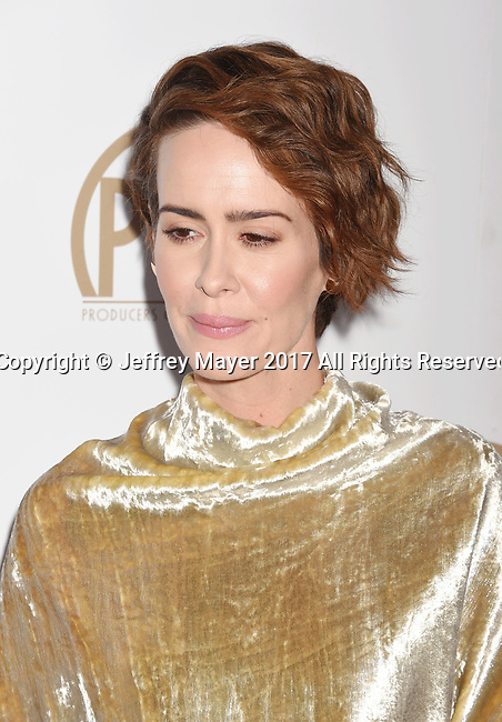 HOLLYWOOD, CA - JANUARY 28: Actress Sarah Paulson arrives at the 28th Annual Producers Guild Awards at The Beverly Hilton Hotel on January 28, 2017 in Beverly Hills, California.