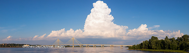 63895-14514 Clark Bridge over Mississippi River and thunderstorm (Cumulonimbus Cloud) Alton, IL