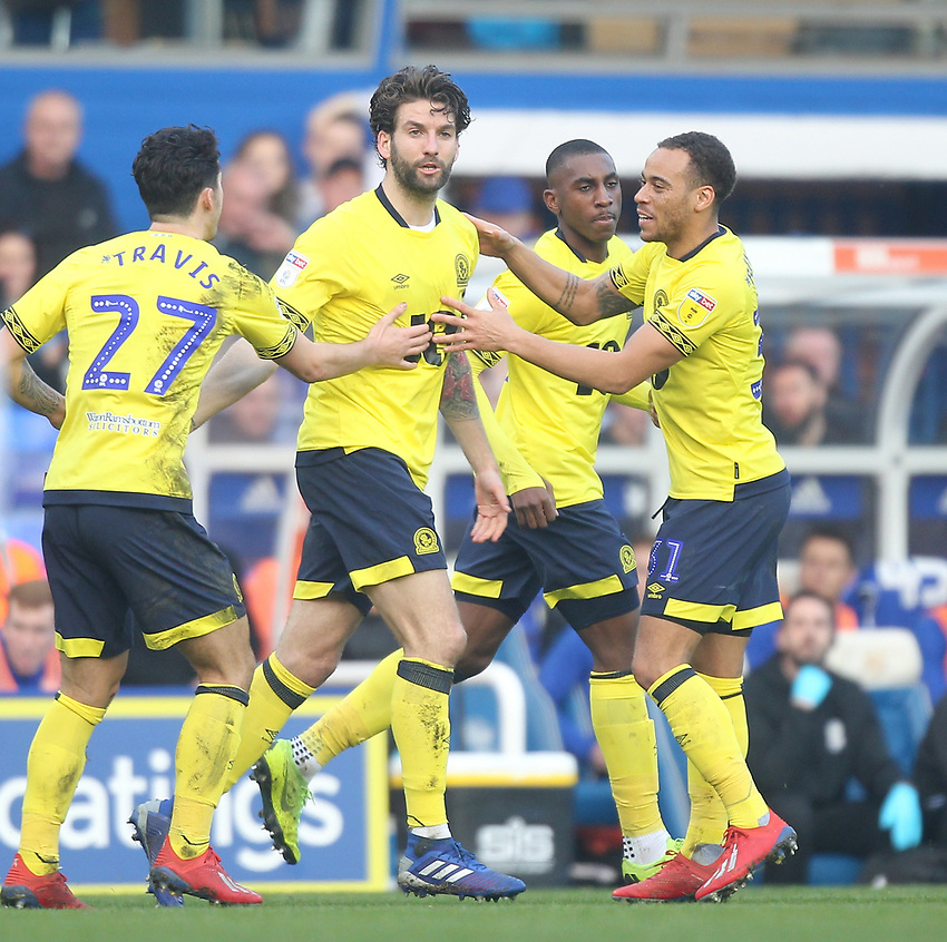 Blackburn Rovers Charlie Mulgrew celebrates scoring his sides first goal <br /> <br /> Photographer Mick Walker/CameraSport<br /> <br /> The EFL Sky Bet Championship - Birmingham City v Blackburn Rovers - Saturday 23rd February 2019 - St Andrew's - Birmingham<br /> <br /> World Copyright © 2019 CameraSport. All rights reserved. 43 Linden Ave. Countesthorpe. Leicester. England. LE8 5PG - Tel: +44 (0) 116 277 4147 - admin@camerasport.com - www.camerasport.com