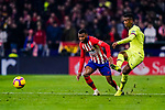 Thomas Lemar of Atletico de Madrid (L) in action against Nelson Semedo of FC Barcelona (R) during the La Liga 2018-19 match between Atletico Madrid and FC Barcelona at Wanda Metropolitano on November 24 2018 in Madrid, Spain. Photo by Diego Souto / Power Sport Images
