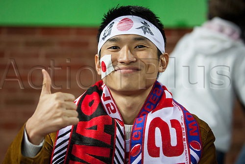 11.10.2015. Kingsholm Stadium, Gloucester, England. Rugby World Cup. USA versus Japan. A Japan fan is pictured before kickoff.