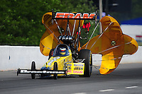 May 5, 2012; Commerce, GA, USA: NHRA top fuel dragster driver Spencer Massey during qualifying for the Southern Nationals at Atlanta Dragway. Mandatory Credit: Mark J. Rebilas-