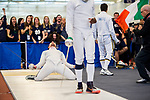 UNIVERSITY PARK, PA - MARCH 25: Nicholas Hanahan of Notre Dame University celebrates after defeating Curtis McDowald of St John's University in the epee preliminary round during the Division I Men's Fencing Championship held at the Multi-Sport Facility on the Penn State University campus on March 25, 2018 in University Park, Pennsylvania. (Photo by Doug Stroud/NCAA Photos via Getty Images)