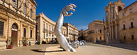 """The Awakening"" a 70 ft sculpture aluminuim sculpture by Seward Johnson - Duomo square, Siracusa, Sicily."
