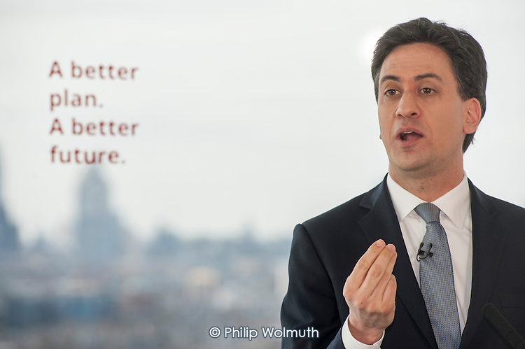 Ed Miliband MP.  Labour Party general election campaign launch, Stratford, London.