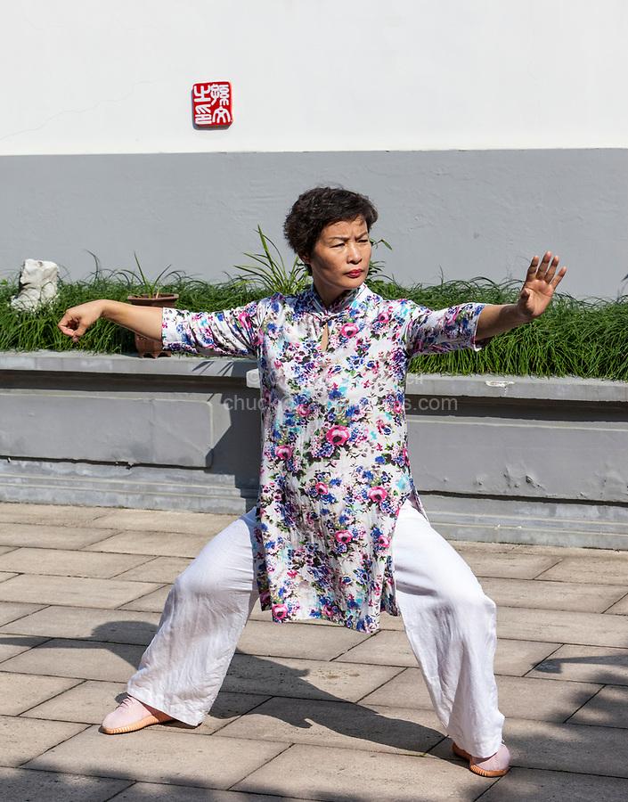 Wenzhou, Zhejiang, China.  Tai Chi Demonstration at the Martial Arts Museum.