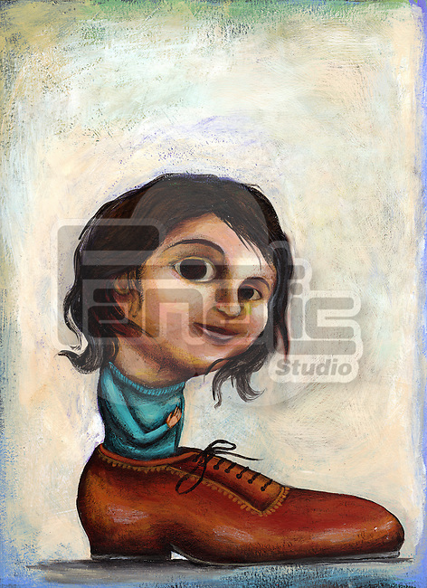 Illustrative image of girl in shoe representing desire