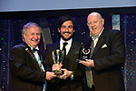 Eoghan Fingleton, Tullamore Musical Society, County Offaly winner of the Best Actor in a Supporting Role / Gilbert Section for his role as 'Tobias' in 'Sweeney Todd' receiving the trophy from on  left, Colm Moules, President, AIMS and Seamus Power, Vice-President at the Association of Irish Musical Societies annual awards in the INEC, KIllarney at the weekend.<br /> Photo: Don MacMonagle -macmonagle.com<br /> <br /> <br /> <br /> repro free photo from AIMS<br /> Further Information:<br /> Kate Furlong AIMS PRO kate.furlong84@gmail.com